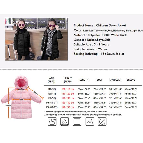 c667127a0b9d Girls Boys Winter Long Jacket Fashion Solid Duck Down Hooded Coats ...