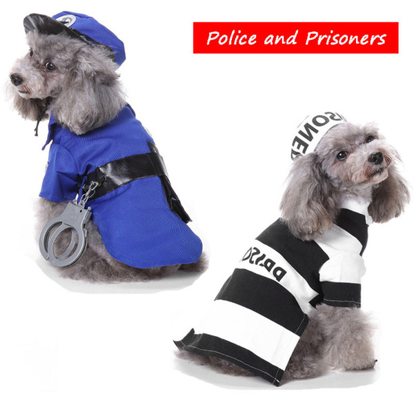 Cute Police and Prisoner Dress Up Funny Dog Clothes for Small Dogs Christmas Halloween Pet Dog Costume Poodle Chihuahua Apparel