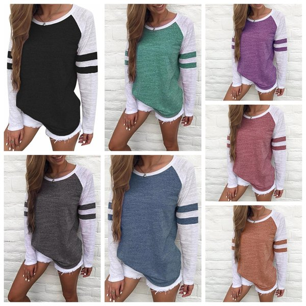 top popular Women Striped Splicing Baseball Tshirt Spring Fashion O Neck Long Sleeve Top Tee All Matched T Shirt Maternity Tops tee Plus Size 5XL 2020
