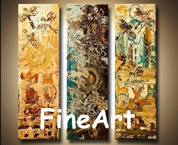 100% handmade 3 panel canvas art oil canvas discount contemporary modern abstract wall art canvas decoration home Kungfu Art