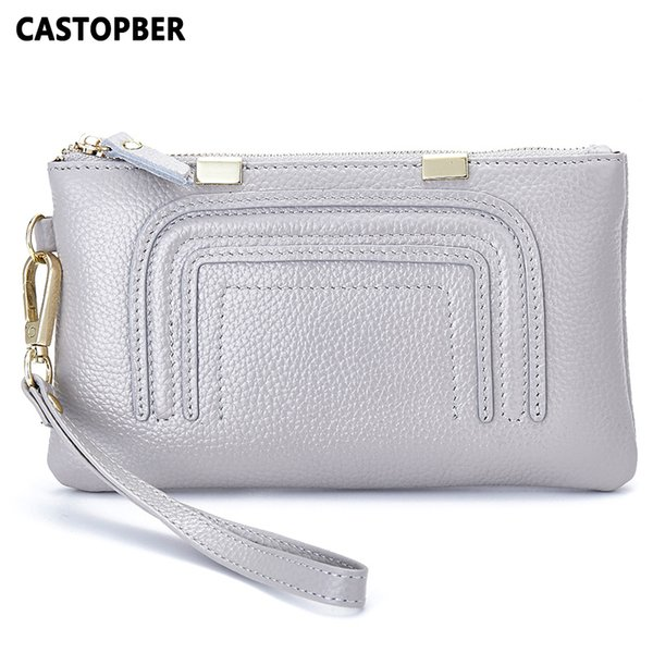 Women Wallet Day Clutch Genuine Leather Cowhide European And American Style Fashion Designer Small Handbags High Quality Female