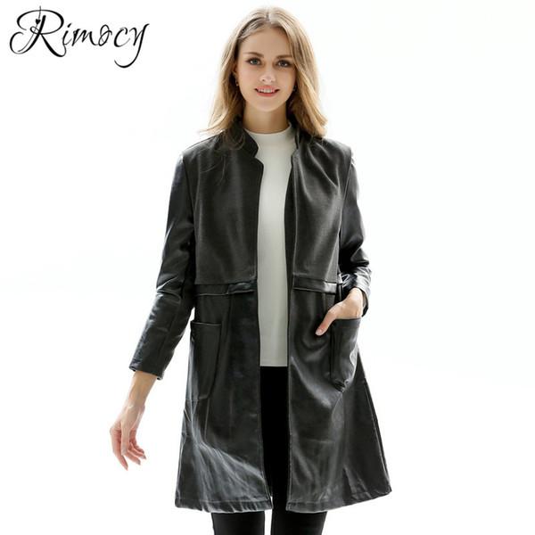 Rimocy Schwarze Lange Jacke 2018 Neue Mode Herbst Großhandel Pu Damen Kunstleder Von Mäntel Oberbekleidung Frauen Warme Verdicken Größe Große vnwN80m