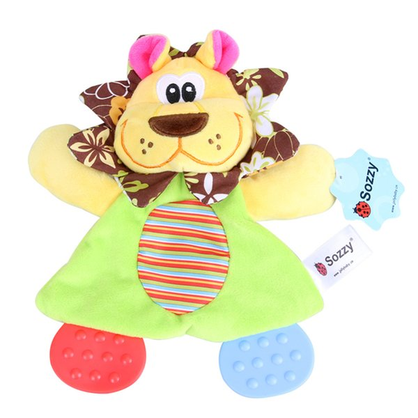 Newborn Baby Cute Toys Baby Cartoon Animals Hand Bells Rattles Toy Playmate Plush Doll Teether Toys for Kids