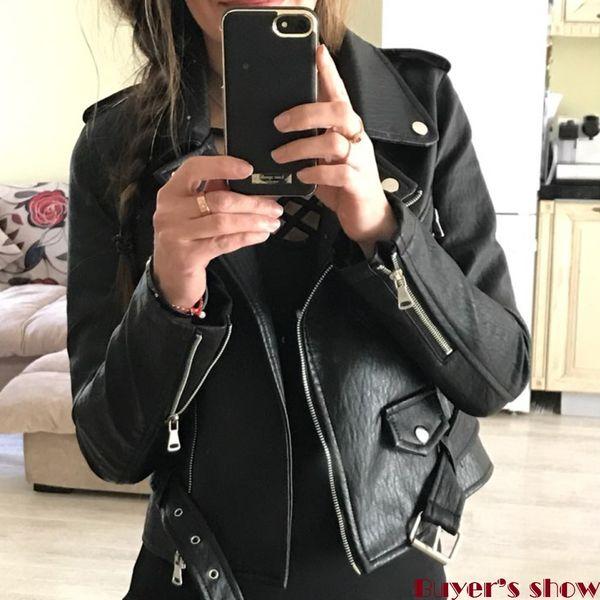 best selling Wholesale- Hot Sale Brand Motorcycle PU Leather Jacket Women 2017 Winter & Autumn New Coat Black Zipper Outerwear Jacket Coat Thick Coats