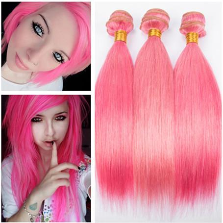 Silky Straight Virgin Peruvian Pink Color Human Hair Bundle Deals 3Pcs Pure Pink Virgin Remy Human Hair Weave Bundles Straight Extensions