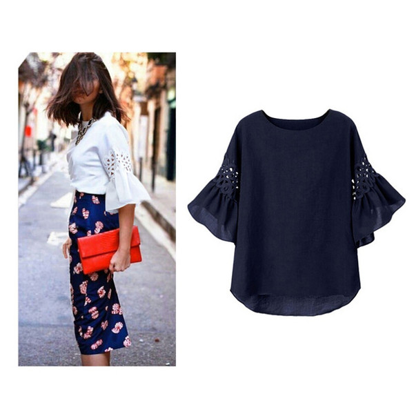 Hollow Out Butterfly Sleeve Plus Size Chiffon T-shirts 2018 Summer Patchwork Extra Large Loose Casual Women Tops
