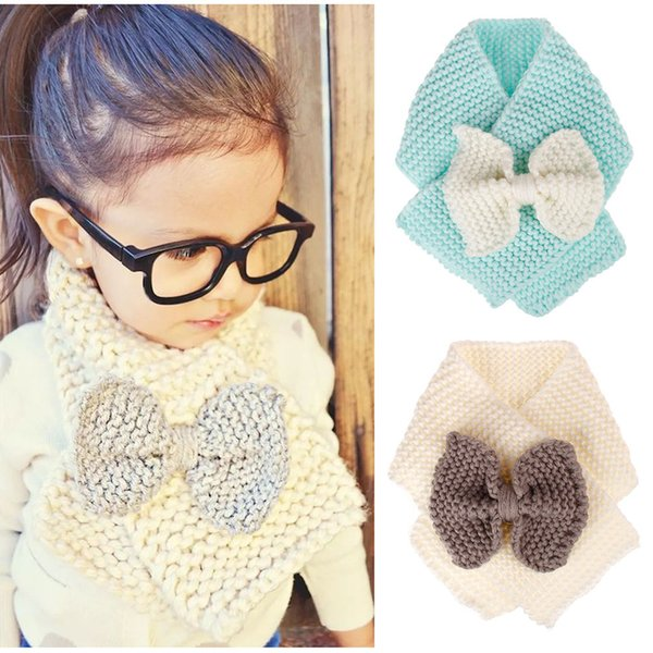 Fashion Children Scarf Kids Knitted Wool Scarf Warm Neck Scarves for Boy Girl Winter Big Bow Scarf Mufflers Clothing Accessories JLE122