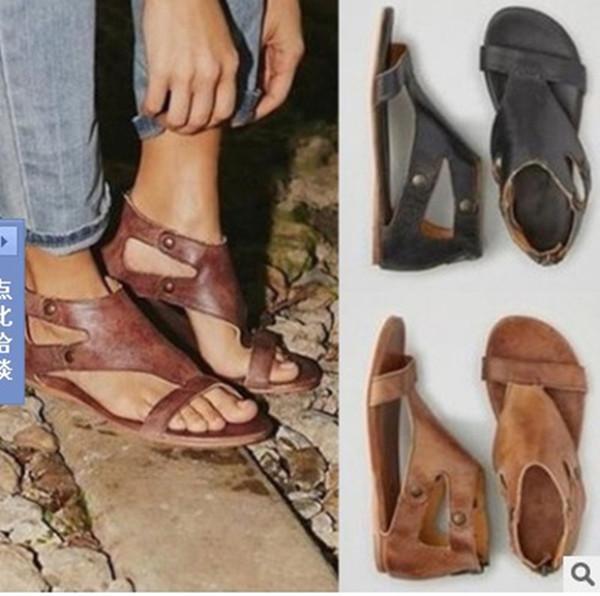 Women Sandals Soft Leather Gladiator Sandals Women Casual Summer Shoes Female Flat Sandals Zip Plus Size 35-43 Beach Shoes Women