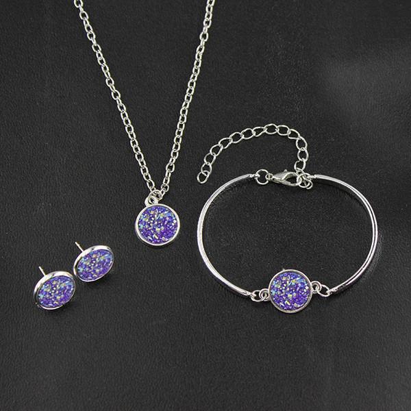 Conjuntos de jóias Colar Pingentes Brincos Pulseiras de cristal natural Druzy Jóias Para As Mulheres Acessórios Encantos Moda Amuleto Jóias