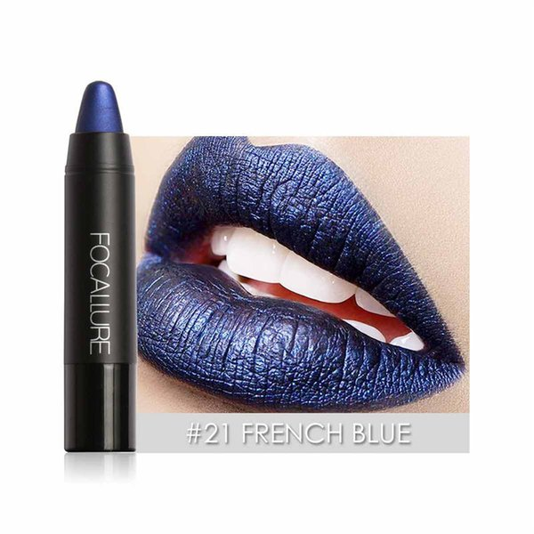 New Gothic Color Shimmer Metallic Lips Matte Lipstick Pencils Beauty Cosmetics Blue Purple Waterproof Pigments Matte Lip Stick F