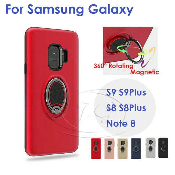 360 вращающееся кольцо магнитный чехол для телефона Samsung S9 S9Plus S8 S8plus Note8 для iphone X 8 7 6plus задняя крышка матч автомобиль магнитный Brackect
