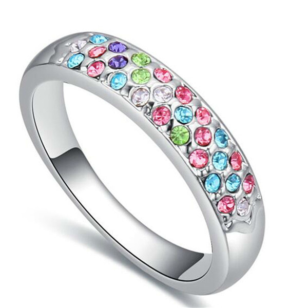 Austrian Crystal Jewelry Engagement Rings For Women Female Korea Trendy Colorful Rhinestone White Gold Plated 23696