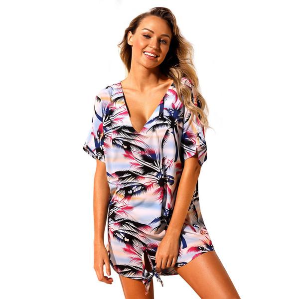 97c4d9dac3d Women V Neck Bikini Beach Cover up Floral Print Short Sleeve Knot Tunic Beach  Wear Cover up Dress Loose Short Dress Sexy Summer Swim Dress