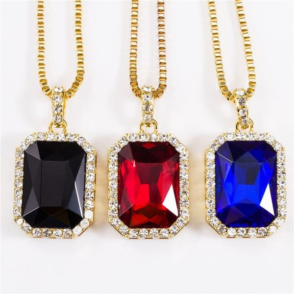 2018 Pendants & Necklaces Geometric Necklace Bling Iced Out Red CZ Pendant Chain Gold Square Red Black Blue Rhinestone