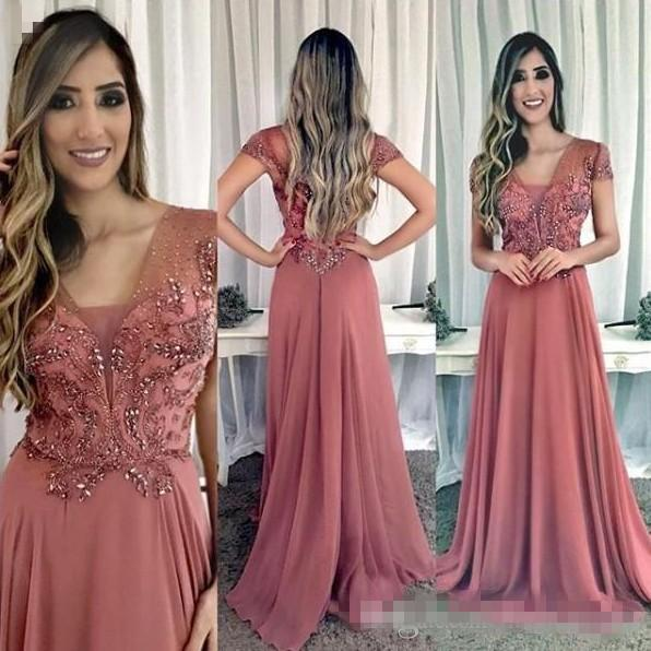 Cap Sleeves Beaded Crystals 2019 Evening Dresses A-line Chiffon Cheap Prom Dresses Elegant Formal Bridesmaid Party Gowns