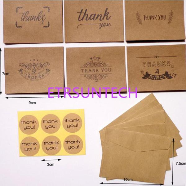Blanc Merci Cartes en papier Note Enveloppes Kraft Papier Carte de voeux Fête de mariage de Noël Réception Artisanat QW8092