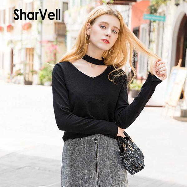SharVell Novo Outono Mulheres Sólidos Preto Casual Camisola Básica De Malha Top Fashion Neck collar collar Pullovers Com Decote Em V pull femme