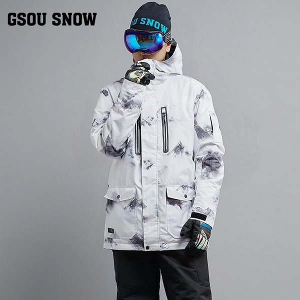 New Hot men Snow suit clothing outdoor Sports Snowboarding jacket 10K waterproof windproof Breathable skiing jackets GSOU SNOW