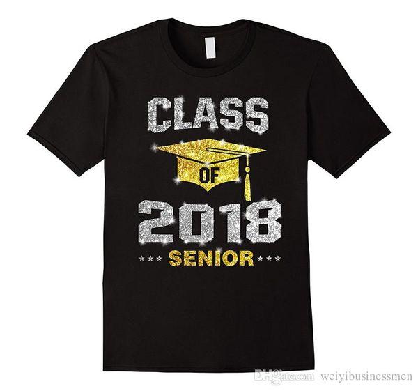 Neue Mode T-shirt Grafik Brief Kurze Klasse von 2018 Senioren T-shirt Männer Zomer Oansatz T-shirts
