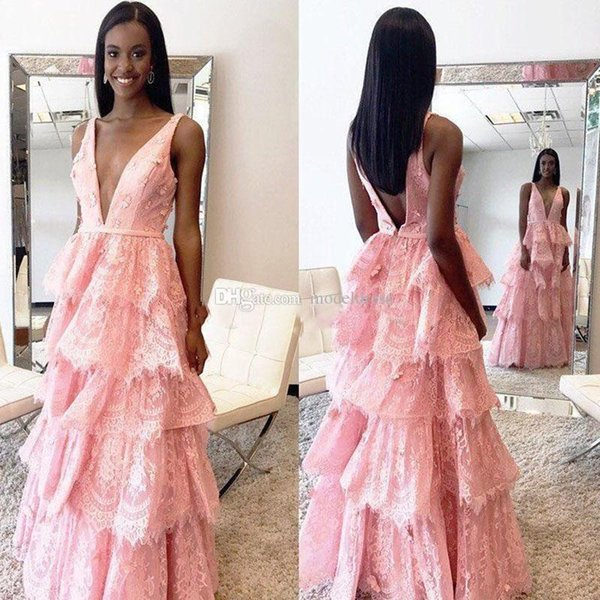 New Pink Tired Skirt Lace Prom Dresses Deep V Neck A Line Backless Long Arabic Evening Party Pageant Gowns