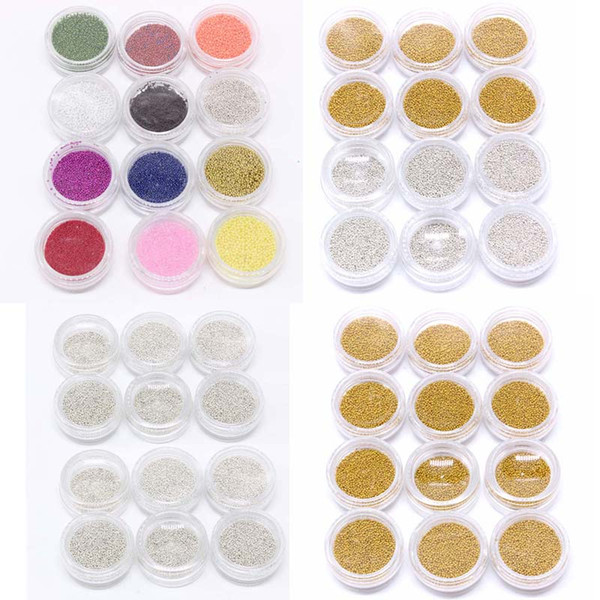 Yiday 12 Bottles Gold Silver Mini Metallic Plated Caviar Manicure Nail Beads Design For 3D Nail Art Tips Decoration Tools