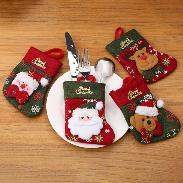 13x9cm Hot Sale Christmas Decorations Small Size Christmas Tree Decoration Table Cutlery Sets Christmas Stockings Country Christmas Decorations Custom