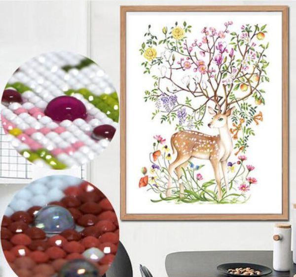 Cervo di natale animale fai da te pieno cristallo trapano diamante rotondo 5D pittura 3d kit punto croce mosaico rotondo di strass