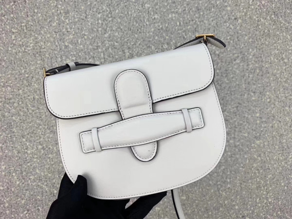 17cm-14cm-2.5cm black/white real leather plain women's fashion saddle bags ladies crossbody bags Celing1031