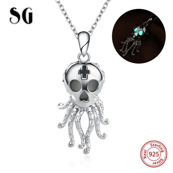 Hot sale Octopus skull glwoing chain pendant&necklace 925 sterling silver European diy fashion jewelry making for women gifts