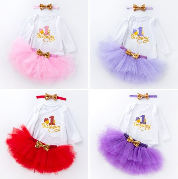 6 Colors Baby Girls first birthday dresses 3pcs Suits Letter Printed Long Sleeve Tshirt+Layer Cake Pleated Tutu Skirts+Bow Headbands Cloth