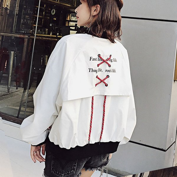 Harajuku bomber jacket woman spring 2018 hip hop rock jackets female ribbon sleeve patchwork coats plus size kpop cute cardigans