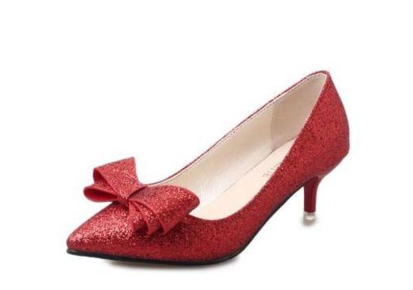 Enviar gratis 2018 primavera nuevo estilo Fino talón Ayuda baja Boca baja paño lentejuelas bowknot zapatos de mujer