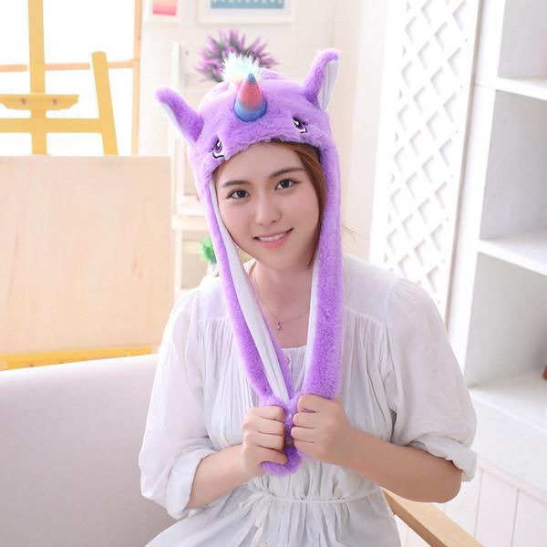 Purpurrote Einhorn-Kappen für Kindermädchen-Jungen-buntes Einhornplüsch hustet Kopfschmuck für Frauen Die Männer, die Ohren klemmen, bewegen sich für Geschenk-Weihnachten