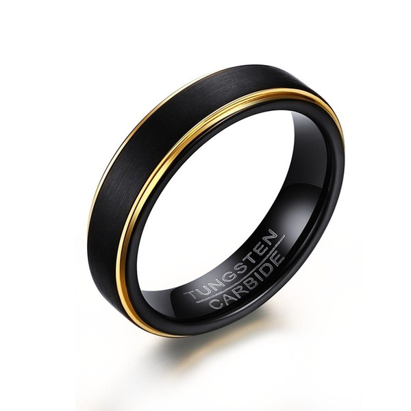 Mens Basic Tungsten Steel Black Gold-color Stepped Edges Finish Center Rings for Male Wedding Engagement Band Jewelry