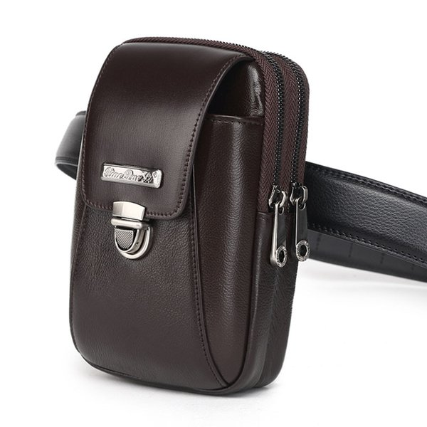 New Men Genuine Leather Fanny Waist Bag Brand High Quality Cowhide Cell/Mobile Phone Coin Purse Pocket Belt Bum Pouch Bags