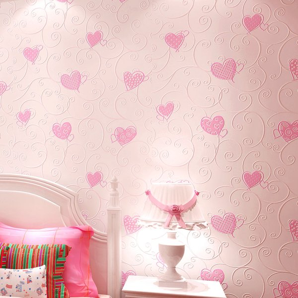 Korean Romantic Non-woven Wallpaper for Girls' Room Europe Pink Yellow Love Heart-shaped 'relief Wall Paper Roll for Bedroom Wedding Room