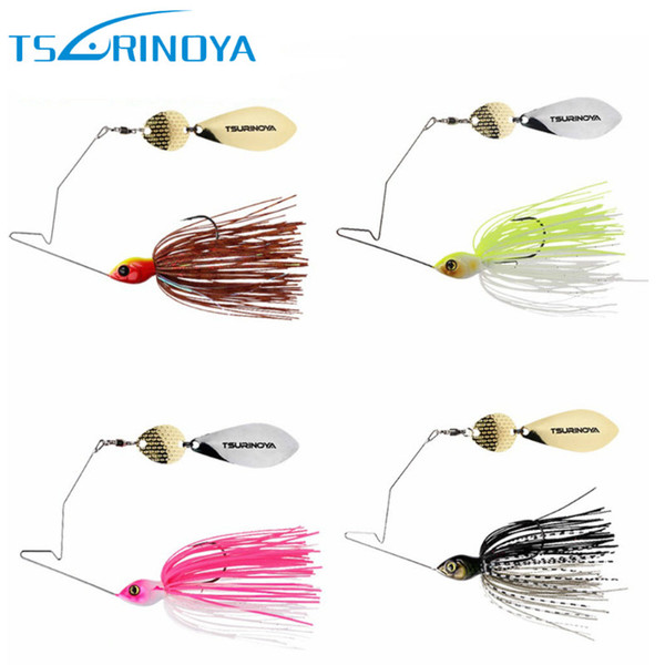 TSURINOYA 4Pcs/Lot Spinner Bait Head Weight 11g Rubber Jig Heag Fishing Lure Spinnerbait Metal Spoon Buzzbait with Barbed Hook