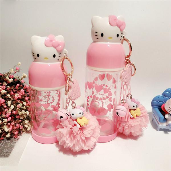 1 STÜCKE Hellokitty Doppel Isolierte Glasflaschen Dicht Lady Cartoon Nette KT Katze Tragbare Kreative wasserflaschen CF
