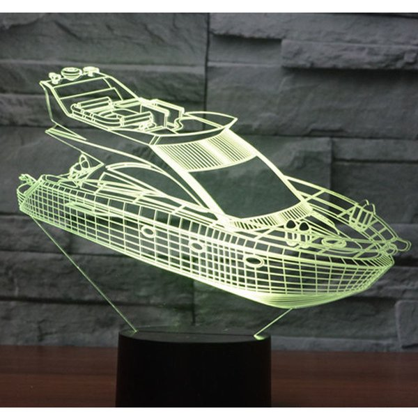 3D Illusion LED Night Light Ship Yacht 7 Colori Light Decorazione domestica Lampada Nuove lampade acriliche # R21