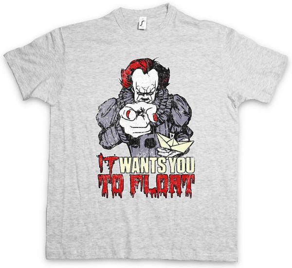 Il veut que tu flottes T-shirt Film Amusant Horreur Clown Pennywise Stephen It King Tee-shirt Imprimé Casual Taille S