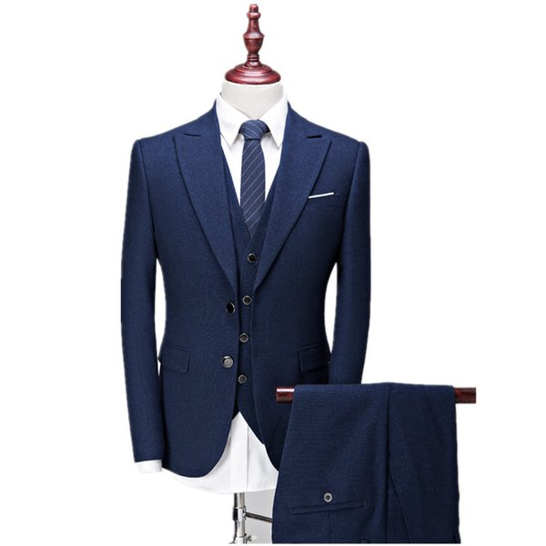 (Jacket+Vest+Pants) Men's suits 2017 new style Men's casual fashion wool suit Men high quality wool wedding suits Free shipping