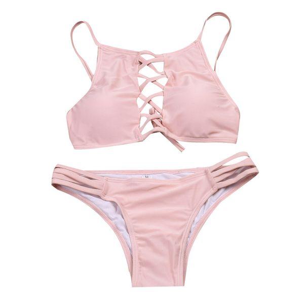 2017 swimwear women halter swimsuit biquini high neck lace up bikini maillot de bain femme Sexy bikini brazilian