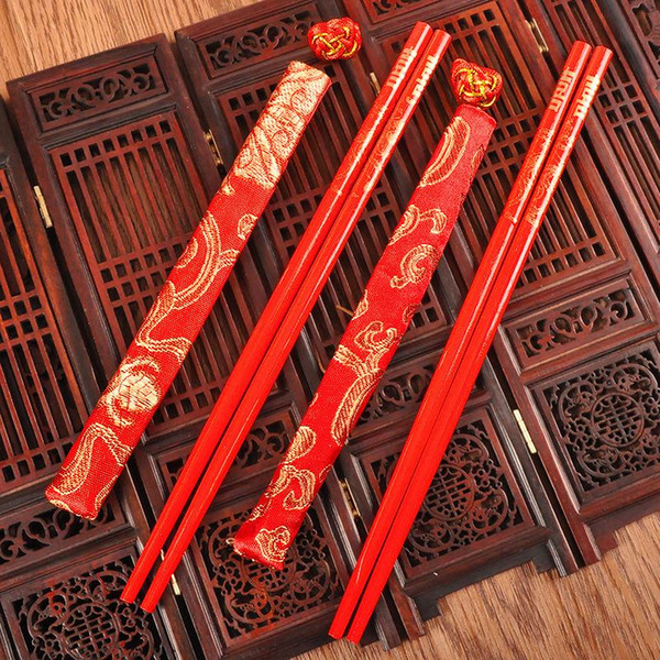 Red Wood Chopsticks Printing Both The Double Happiness And Dragon With Cloth Cover Wedding Supplies Popular 0 7cd ii