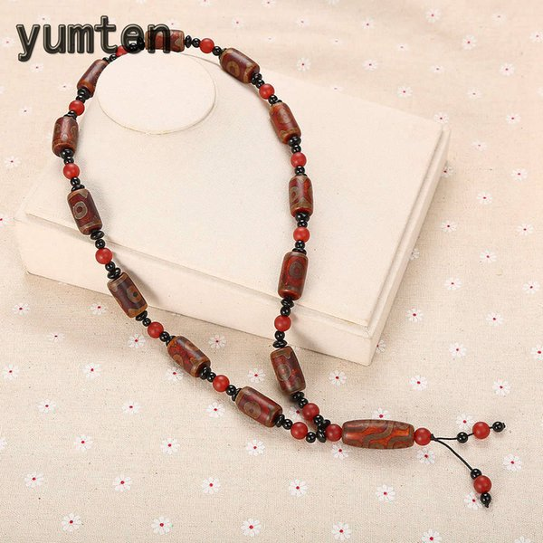 Yumten Agate Pendant Necklaces Bohemia Women Chain Engagement Jewelry Round Rolo Chain Men Brownish Ornaments Beaded Accessories