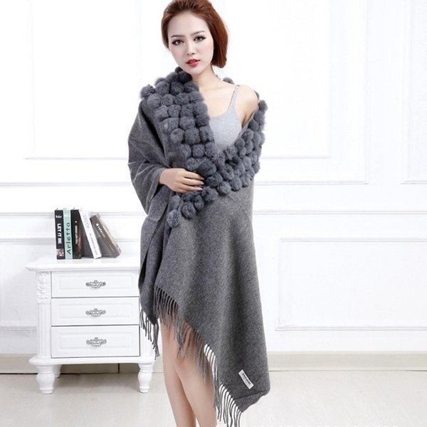 Hot Sale 2018 Women Long Scarf WinterThickening Warm Shawl with Real Rabbit Fur Ball Fashion Cape Wrap Gray Red Stole Low Price S18101904