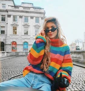 rainbow sweaters turtleneck hit colors striped pullovers women knitted shirts lantern sleeved oversized chic pullover  2018
