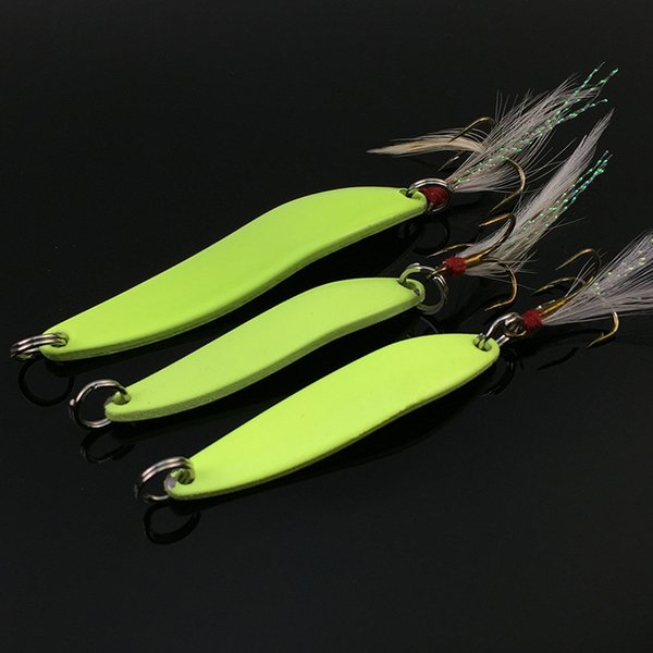 Metal Spinner Spoon Fishing Lure 5g 7g 10g 13g Luminous Hard Bait with Feather Bass Sea Lures Wobbles Fishing Tackle