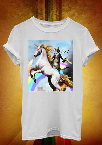 Fashion Style Short Sleeve Short Sleeve Crazy Cat Unicorn Rainbow Crew Neck Mens T Shirts
