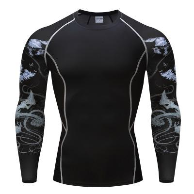 Men's Quick Dry Compression Baselayer Underlayer Long Sleeve T shirts 3D printing Sleeve Exercise Basketball Running Training Tops for men