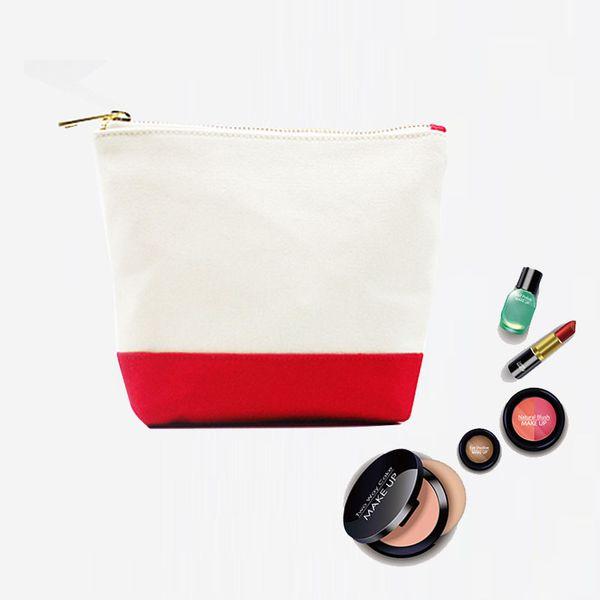 Bolso cosmético de lona Bolso de almacenamiento con cremallera de oro Bolsas portátiles portátiles de viaje de viaje para mujer en blanco